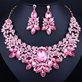 Luxury Wedding Jewelry Red Crystal Rhinestones Leaf Necklace earrings set Fashion African Jewelry sets