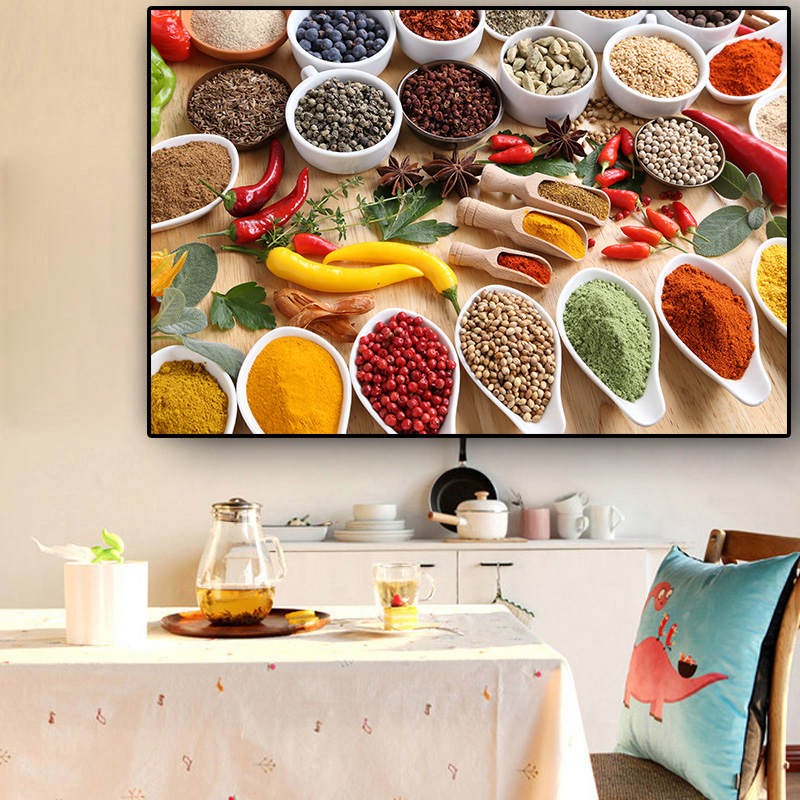 Grains Spices Spoon Peppers Kitchen Canvas Painting Cuadros Posters And Prints Restaurant Wall Art Food Pictures  Living Room