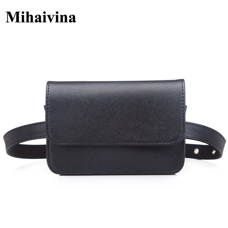 Mihaivina Women Vintage PU Leather Waist Bag Luxury Trendy Waist Packs Fanny Pack Small Coin Purse trendy women s coin purse with owl print and pu leather design