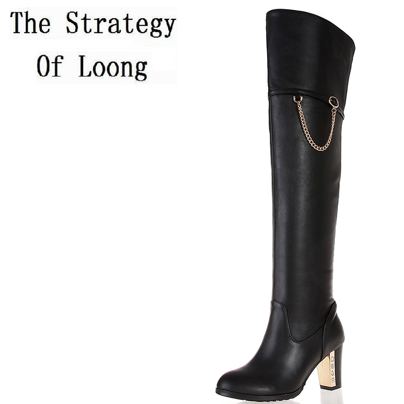 Genuine Leather Over The Knee Women Long Boots Woman Full Grain Leather Chain Winter Thick High Heels Boots Plus Size 41 42 43 women winter buckle genuine leather thick high heels boots real leather pointed toe over the knee long boots plus size eu 44 45