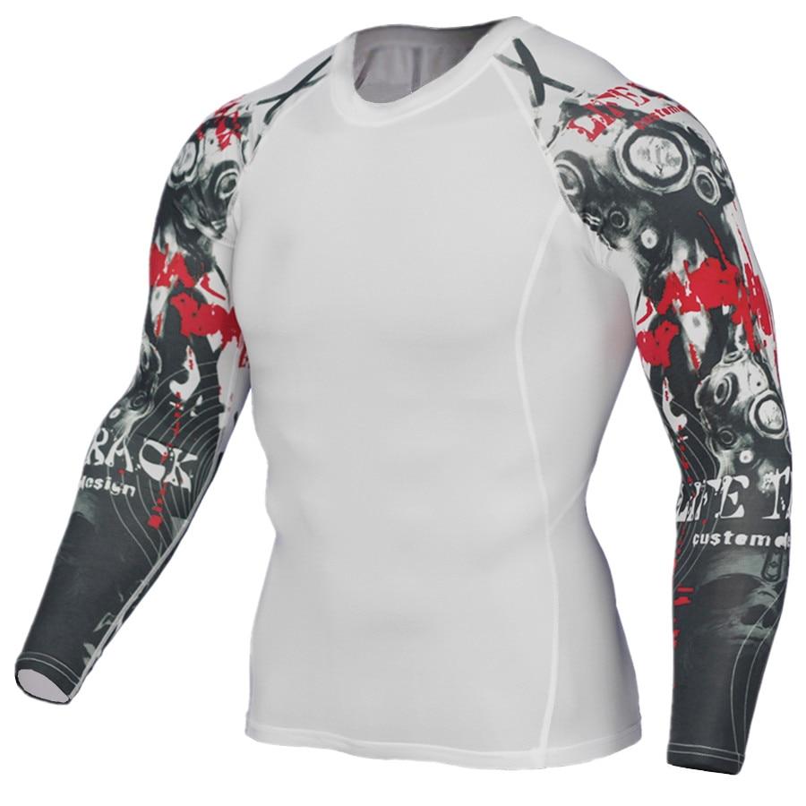 New Fitness 3D Compression Shirt Men Punk Skull Punisher Tops Long Sleeve Bodybuilding Crossfit Men T-Shirt MMA  4XL Счастье