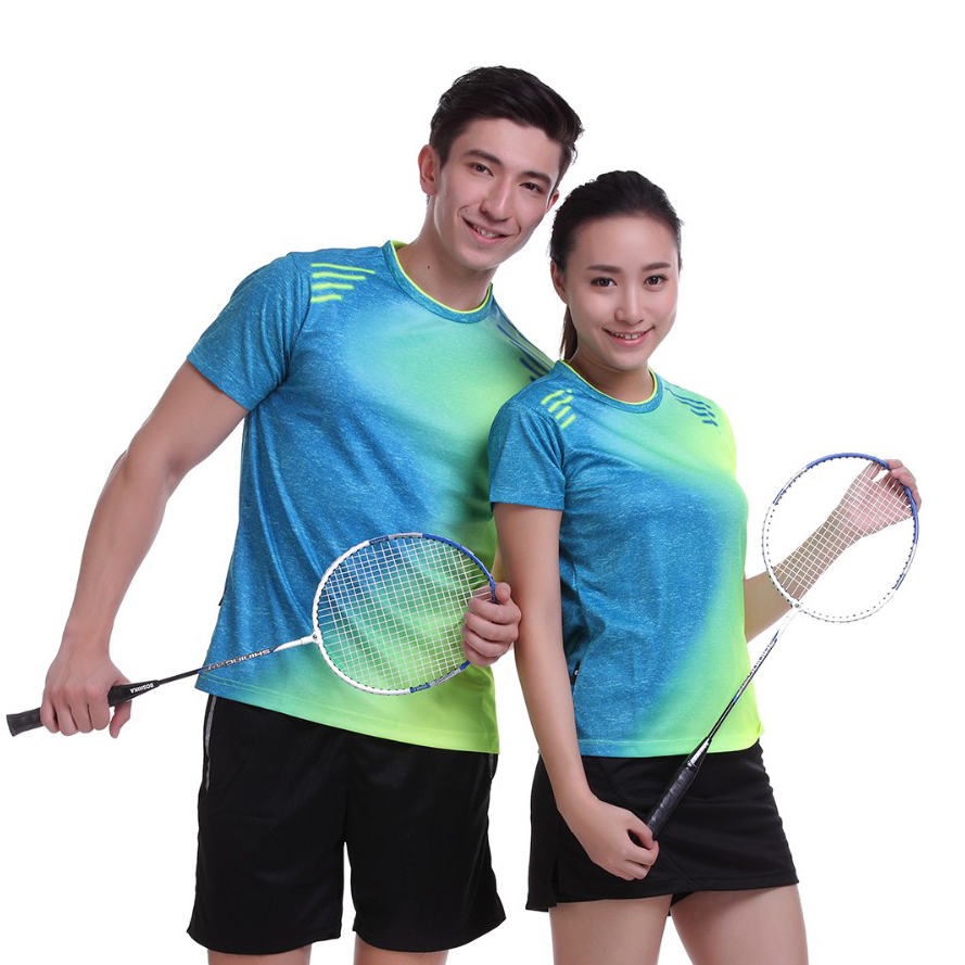2017 Women/Men table tennis Print clothes team game O Neck T Shirts Plus Size Sportswear Quick Dry breathable badminton shirt