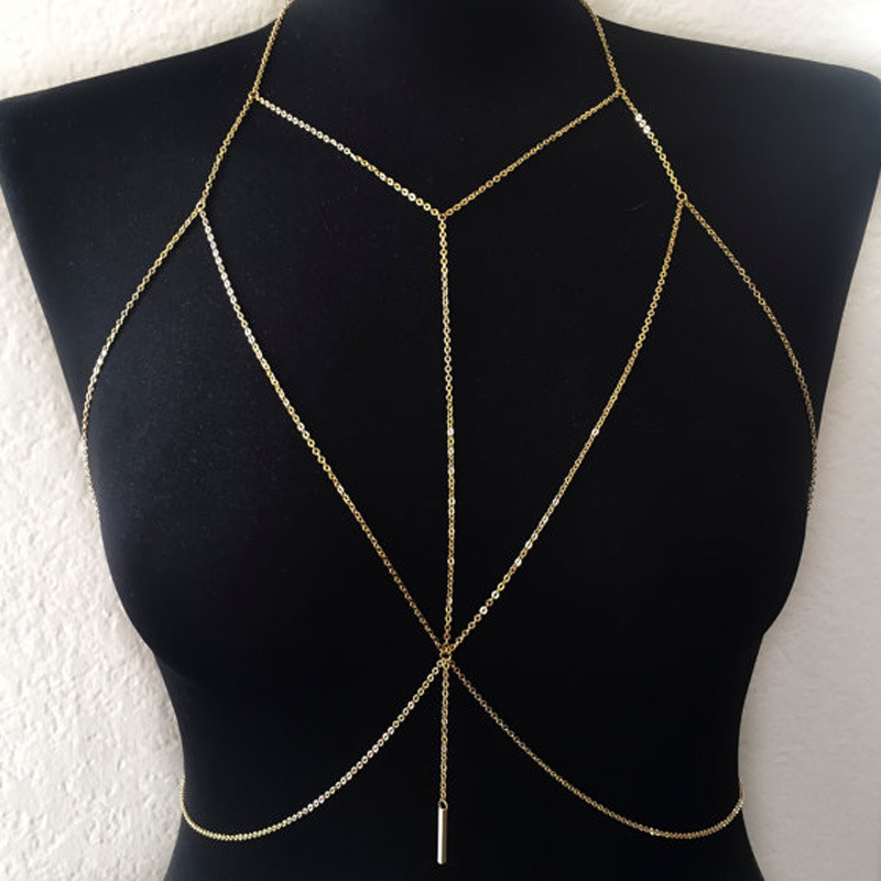 Sexy Beach Body Necklace Women Gold Color Body Bra Harness -6130