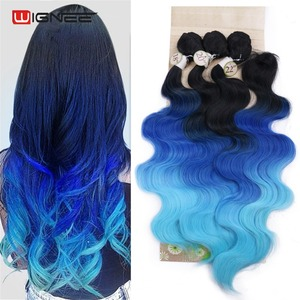 Image 5 - Wignee Extensions de cheveux synthétiques longues ondulées avec Closure, tissage résistant à la chaleur, de couleur violette/grise, pour femmes
