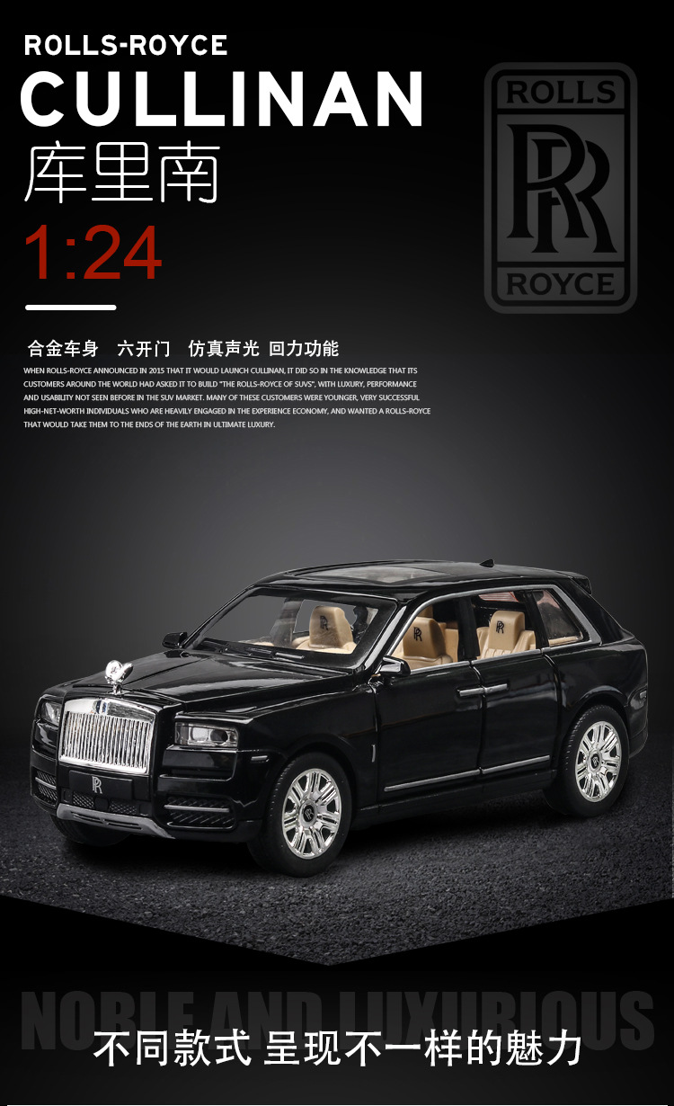 Rolls Royces Cullinan SUV Model Car with Metal Wheels, Sound & Lights 7