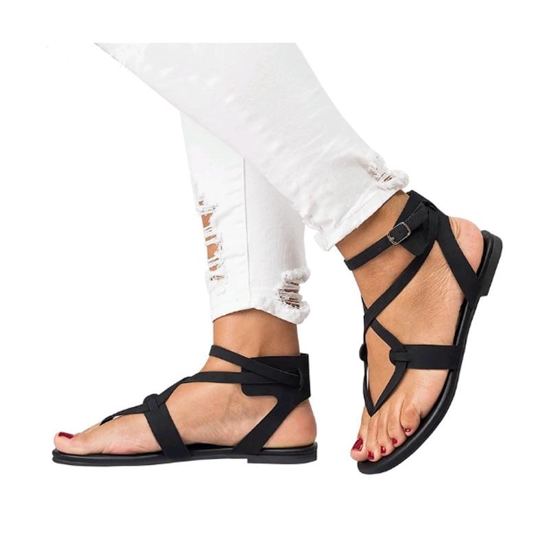 Neue Gladiator Damen Sandalen Sommer Knöchelriemen Casual Comfort - Damenschuhe