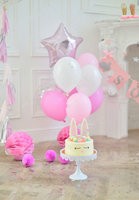 White And Pink star Balloons flag cake room photography backgrounds Vinyl cloth High quality Computer print party backdrop