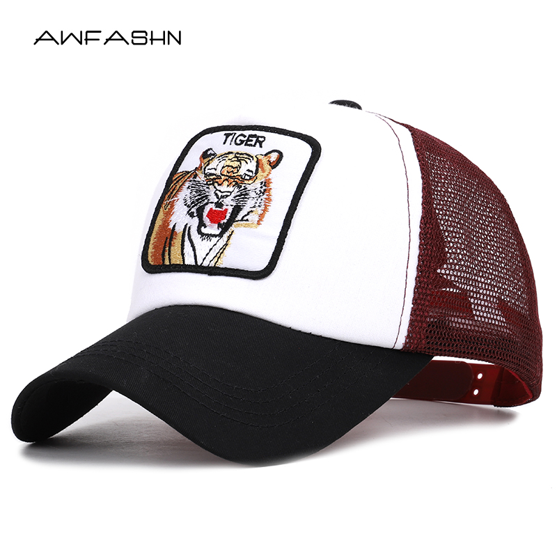 New High Quality Tiger Embroidery Mesh   Baseball     Cap   Women Men Hip Hop Hat Summer Animal Snapback Adjustable Bone Gorras Sport