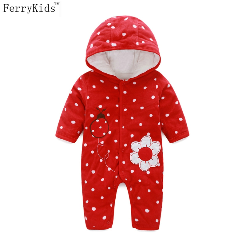 2018 Autumn Winter Baby Rompers Red Dot Newborn Infant Girl Clothing Baby Girls Clothes Fleece Hooded Romper New Born Jumpsuit baby clothing summer infant newborn baby romper short sleeve girl boys jumpsuit new born baby clothes