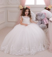 Elegant Flower Girl Dress Ball Gown 2017 Fashion White Lace Appliqued Party Tulle Princess Party Dresses Baby Girl dress