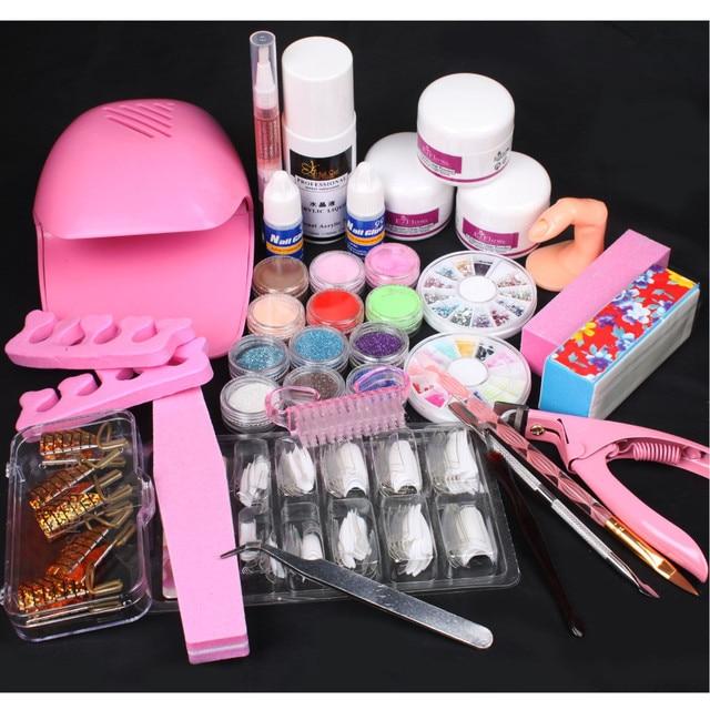 Nail Art Pink Hand Dryer Blower Acrylic Liquid Powder Form Tips Tools Kit Set To Build Gel Nails Manicure Set Gel Polish 34226