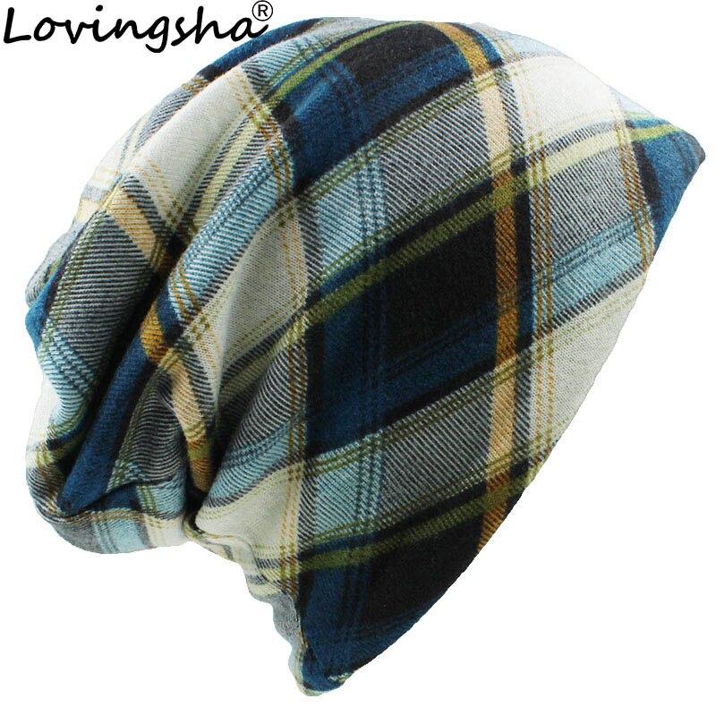 LOVINGSHA Autumn Winter Girl Skullies Beanies Striped Design Multifunction Hats For Women Thin Lady Fashion Feminino Scarf HT082