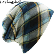LOVINGSHA Autumn Winter Girl Skullies Beanies Striped Design