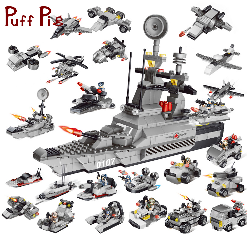 829PCS 8in1 Military War Ship Helicopter Tank Model Army Figures Soldier Compatible Legoed ww2 Building Blocks Toys For Children free shipping 200pcs lot plastic soldier set military toy model set with tank helicopter model best toys for children birthday