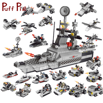 8 in 1 Military Building Blocks Bricks DIY Army World War Weapon Tank Helicopter Compatible With Legoe City Toys For Children Солдат