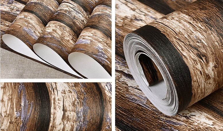 junran 3D special wood Tree bark wood wallpaper PVC for Bar background wall paper Moisture-Proof Formaldehyde-free 10x0.53m mc 7806 digital moisture analyzer price with pin type cotton paper building tobacco moisture meter