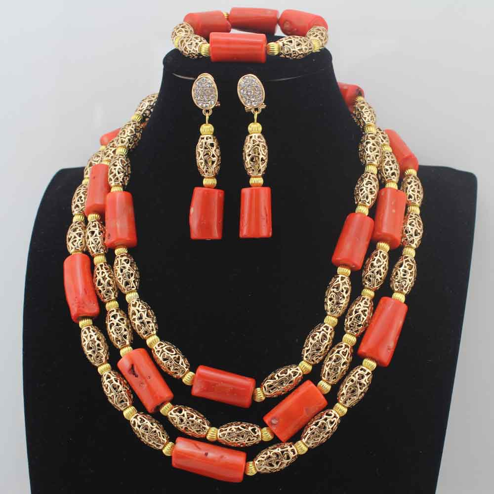 Luxury 3Layers Coral Beads Costume Necklace Traditional Nigerian Wedding African Coral Beads Jewelry Set Free Shipping HD8582Luxury 3Layers Coral Beads Costume Necklace Traditional Nigerian Wedding African Coral Beads Jewelry Set Free Shipping HD8582