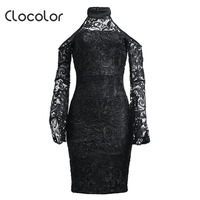 Clocolor Women Bodycon Dress Lace Stand Collar Flare Sleeve Hollow Backless Patchwork Zipper Black 2018 Fashion
