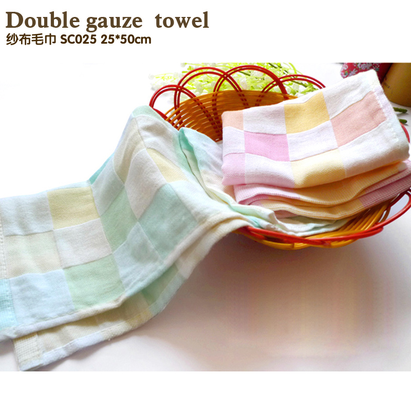 Hot Sale 100%cotton Two layers gauze super soft Hand Towels Adult Children cartoon face towel absorbent towel baby towel