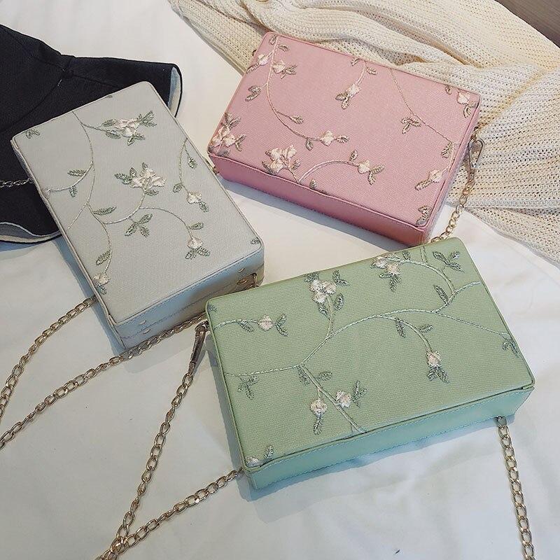 MENGXILU Embroidery Messenger Bags Women Crossbody Bag Lady Box Woman Bags Handbags Women Famous Brand Designer Chians Sac 2018