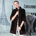 Genuine Mink Fur Coat Women Zipper Mandarin Collar Elegant Lady Jacket Coat Female Winter Warm Flower Mink Fur Vest Waistcoat