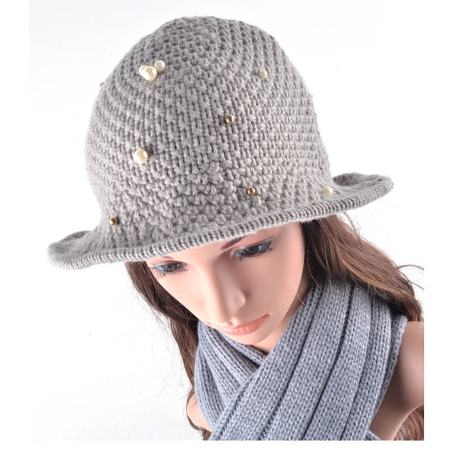 placeholder Fedora Hats for Women Vintage Knitting Wool Crushable Wide Brim  hat chapeu Floppy Pearls decoration Sun ebaec777335