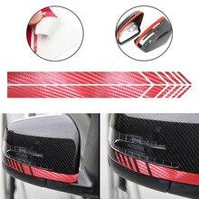 SLIVERYSEA 2Pcs Rear View Mirror Stripe Sticker Decals Warn Safety Carbon Fiber Pull Flower Stickers Car Styling