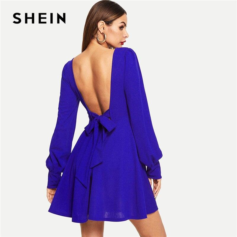 SHEIN Blue Knot без спинки Милая однотонная облегающая и расклешенная короткая одежда с длинным рукавом женское повседневное летнее уличная секс...