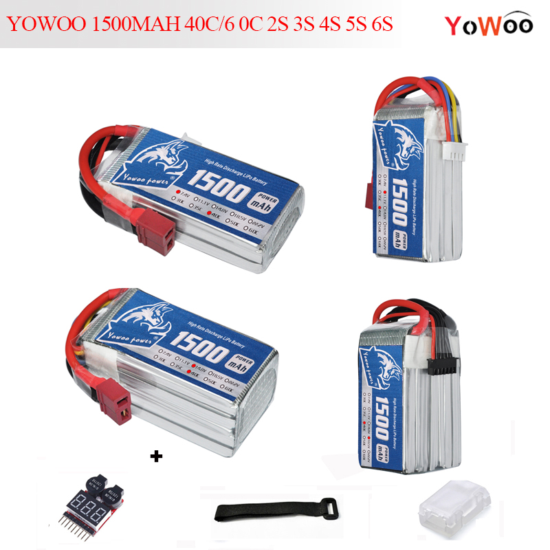 Reachargeable <font><b>Lipo</b></font> Battery YOWOO Power 7.4V 11.1V 14.8V 18.5V 22.2V <font><b>1500mAh</b></font> 40C <font><b>60C</b></font> 2S <font><b>3S</b></font> 4S 5S 6S <font><b>Lipo</b></font> Battery For RC Model Car image