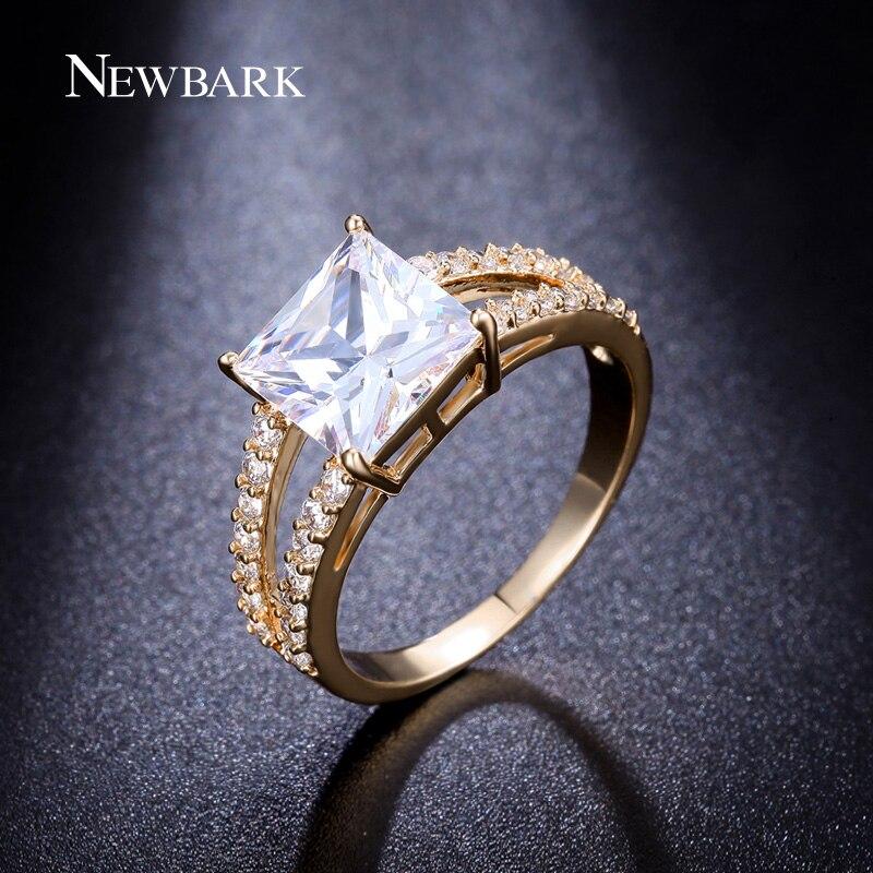 Newbark Sale Gold Plated Ring 3 Carat Princess Cut Cubic