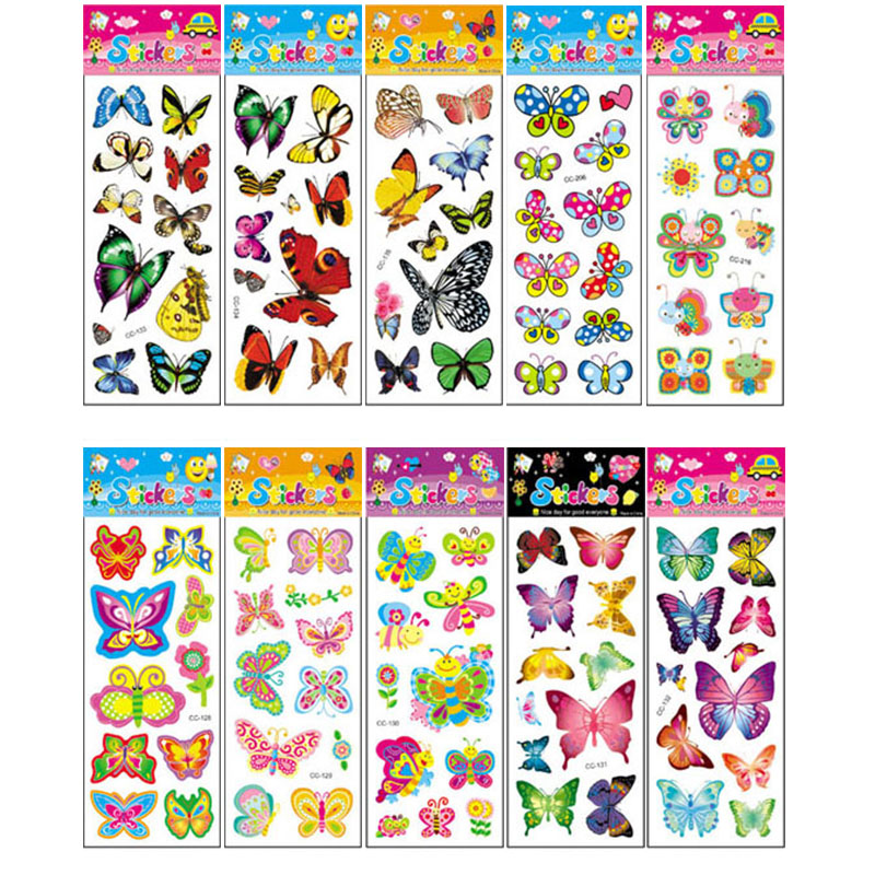 10Pcs Different Butterfly Sticker Toys For Children Gift Kindergarten Sticker Animal Cartoon Decoration On Phone Book No-repeat