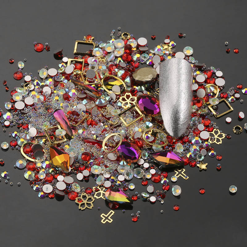 Mixed Styles Nail Colorful Glitter Rhinestones jewelry Charms Gems Metal Shell Flake Rivet DIY 3D Flat Back Nail Art Decorations nail art decorations glitter nails 3d accessories rhinestones supplies jewelry decorazioni unghie diy acrylic tools ongle charms
