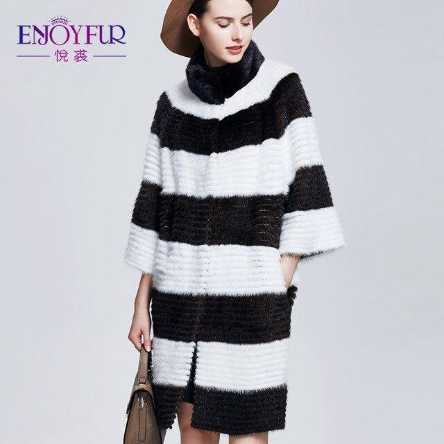 Enjoyfur из натуральной норки Мех Пальто и пуховики толстые теплые зимние норки Пальто и пуховики для Для женщин Натуральный мех Пальто и пуховики из Мех