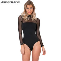 JYConline Black Women Bodysuit Jumpsuit Long Sleeve Mesh Patchwork Sexy Bodysuit Body Top Playsuits Rompers Combinaison
