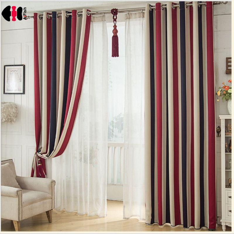 Rainbow Red Blue Striped Curtains Kids Boys Girls Bedroom Polyester Cotton Mediterranean Blinds Window Treatment Gauze WP341C