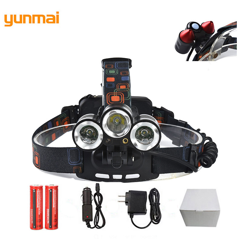 New Military Tactical Sports Headlight Red Laser Shooting Head Lamps 5Led Bike Night Running Frontal Lantern+2*18650 Battery laser head owx8060 owy8075 onp8170