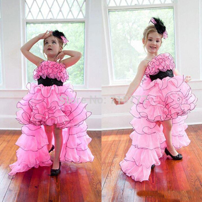 Beautiful Ruffles Pink   Flower     Girls     Dresses   2017 Spaghetti High Low First Communion   Dresses   for   Girls   Pageant   Dresses