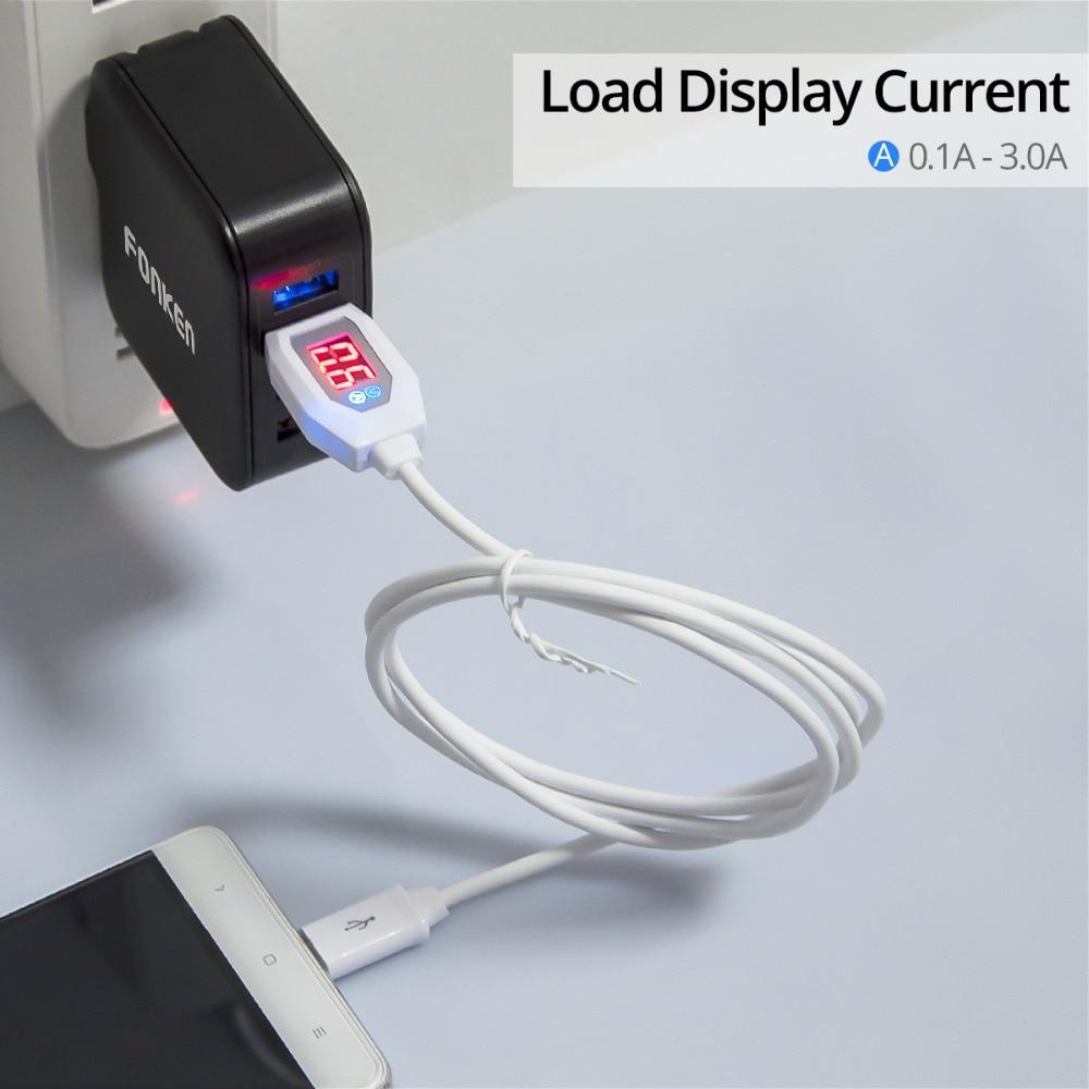 FONKEN Micro USB кабель Напряжение ток Дисплей USB Зарядное устройство кабель для передачи данных Быстрая зарядка шнур светодиодный 9 В 3A зарядки мо...