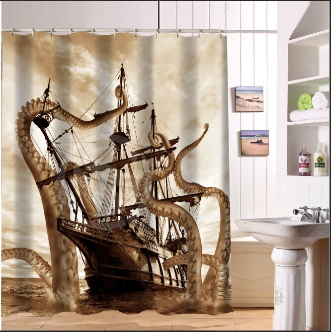 Custom Fashion Popular Corsair Octopus Shower Curtain 60