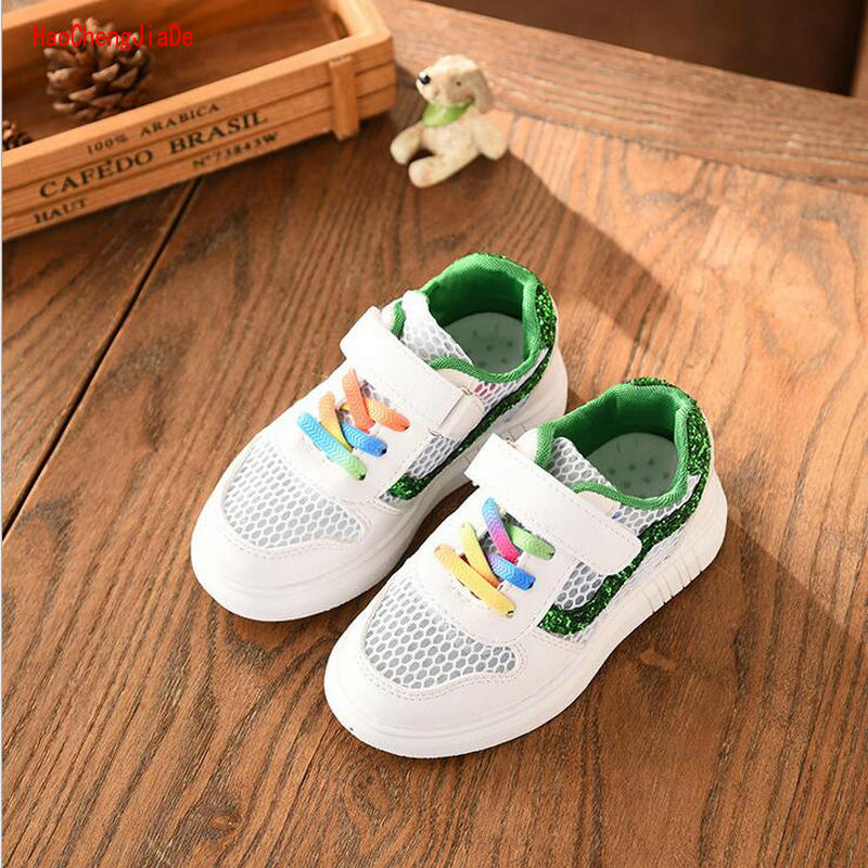 2018 new childrens casual sports shoes boys spring breathable sneakers girls primary school childrens shoes single mesh shoes