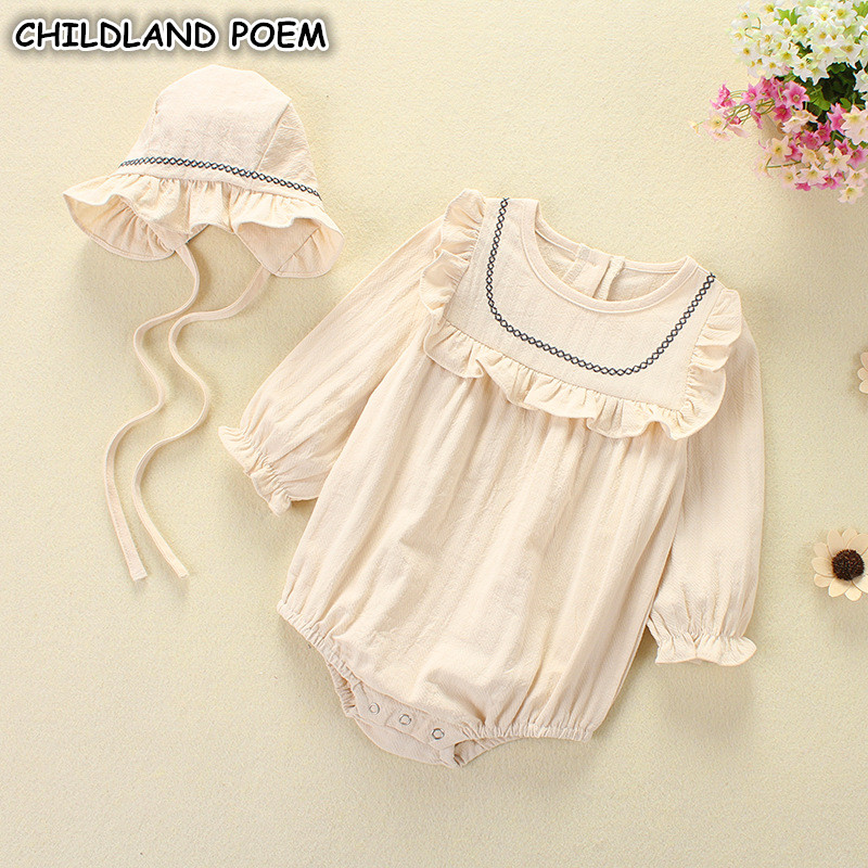 Baby Girl Romper Spring Summer 2018 Newborn Baby Clothes Girl Long Sleeve 100% Cotton Princess Infant Girls Jumpsuit With Hat the spring and summer of 2018 newborn baby clothes jumpsuit romper cotton short sleeved