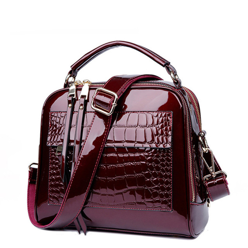 2018 New Women Bags Leather Handbags Crocodile Vintage Women Shoulder Bags Crocodile pattern patent leather handbags yuanyu 2018 new crocodile handbag leather women handbags single shoulder bag