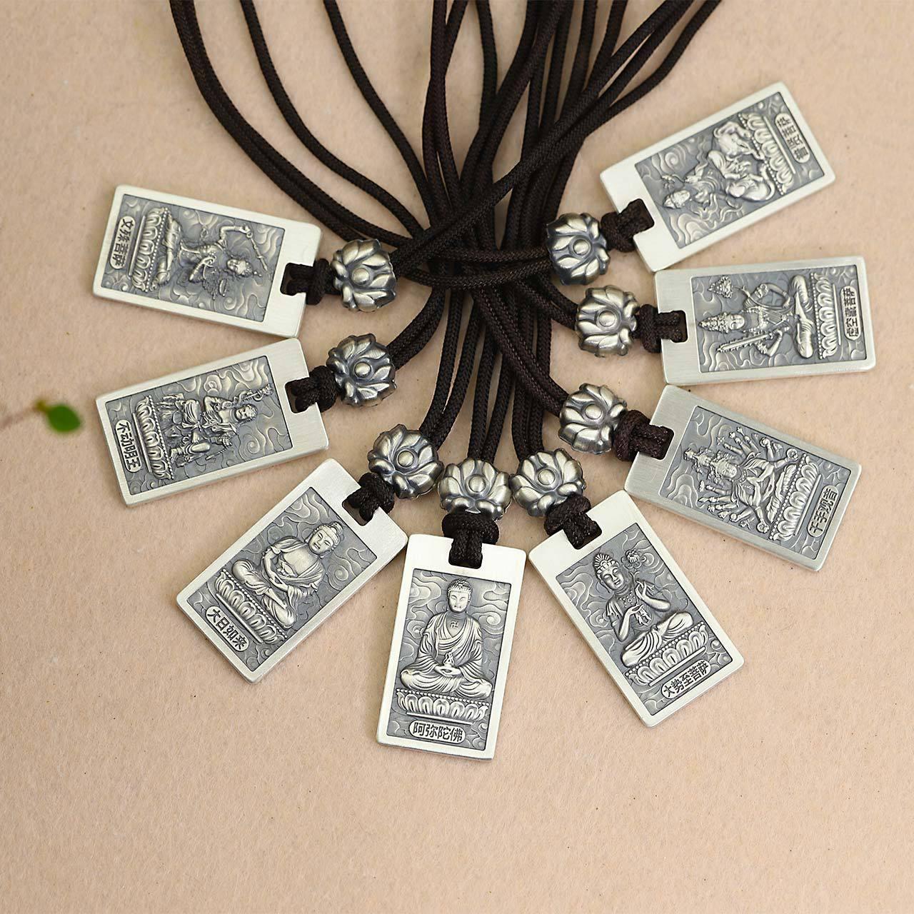 S925 argent pur gros Thai hommes et femmes zodiaque général ce collier bouddha paix et bénédiction