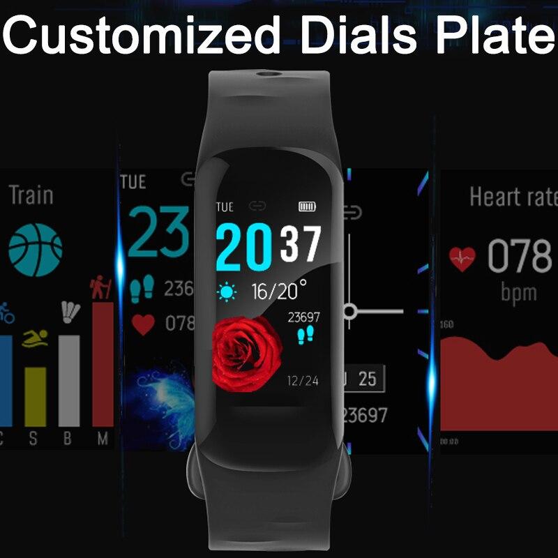 Cadrans personnalisés plaque bande intelligente fréquence cardiaque suivi du sommeil Bracelet intelligent Calories podomètre caméra à distance Bracelet intelligent horloge