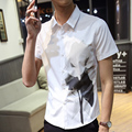 New Summer Men Short Sleeve Solid Slim Shopkeeper Wind Lotus Pointed Shirt White Black 5110