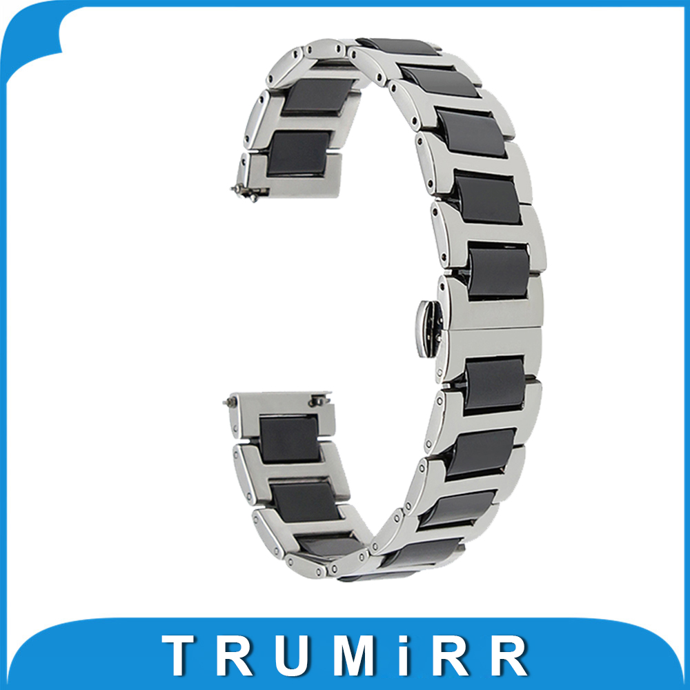 18mm 20mm 22mm Ceramic + Stainless Steel Watch Band Universal Watchband Butterfly Buckle Strap Quick Release Wrist Belt Bracelet 18mm 20mm 22mm 24mm stainless steel watch band curved end strap universal watchband butterfly buckle belt wrist bracelet