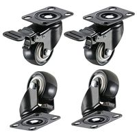 4 Pieces 2in Mute Heavy Duty Caster Wheels Polyurethane PU Swivel Casters with 360 Degree Top Plate 220lb Total Capacity|Casters| |  -