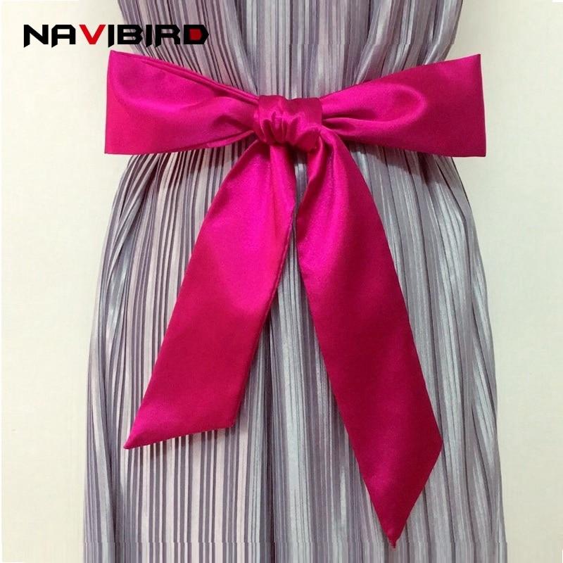 Elegant Imiation Silk Fabric Women'S   Belts   Soft Satin Bow-Tied Corset Waist   Belt   For Dress Long Double-Circle Cinturon Mujer