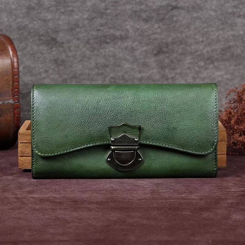 Vintage Style Hasp Closure Women s Dark Green Long Wallet Genuine Leather Female Card Holders Natural