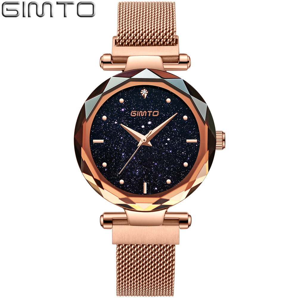 GIMTO 2018 Bracelet Starry Sky Quartz Watches Women Rose Gold Luxury Fashion Ladies Watch Dress Female Clock relogio feminino недорого